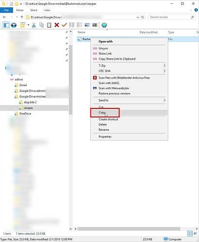 New Google Backup and Sync and odrive root to different folders